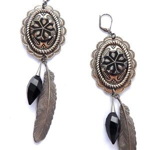 PONDEROSA GUNSMOKE CONCHO EARRINGS